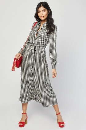 Midi Gingham Shirt Dress