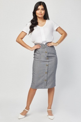 O-Ring Buckled Stripe Skirt