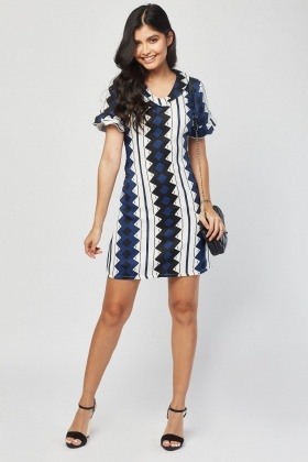 Ruffle Trim Aztec Print Dress