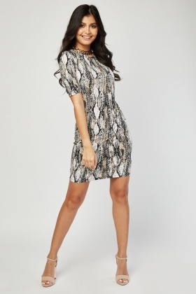 Short Sleeve Snake Print Dress