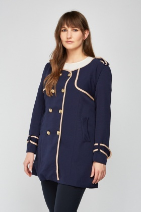 Structured Military Button Trim Coat