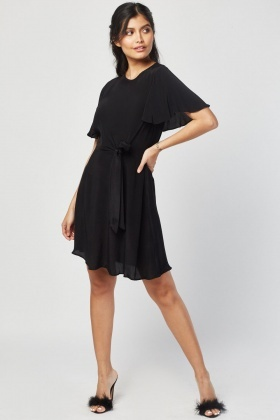 Tie Up Flared Sleeve Tea Dress