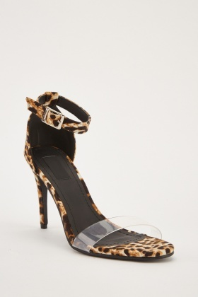 Clear Strap Leopard Heel Sandals