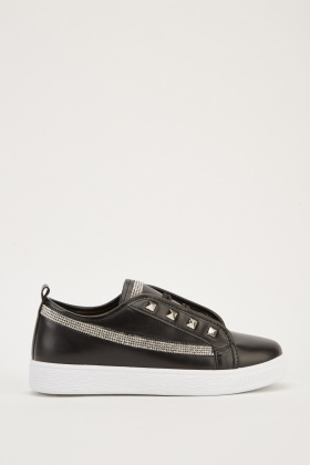 Encrusted Faux Leather Plimsolls