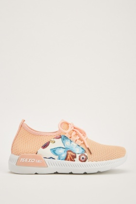Printed Panel Knit Trainers