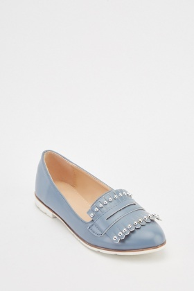 Studded Fringed Loafers