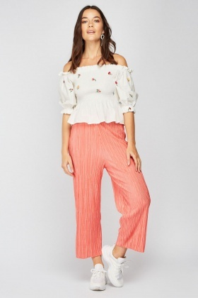 Coral Crop Wide Leg Trousers