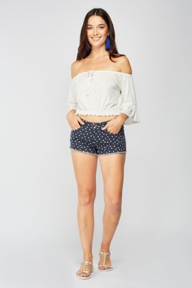 Low Waist Polka Dot Denim Hot Pants
