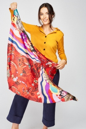 Retro Flower Print Sateen Scarf