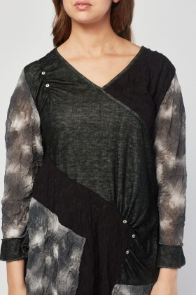 Ruched Tie-Dye Mesh Top