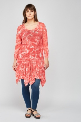 Tie-Dye Crinkled Asymmetric Top