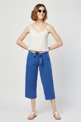 Blue Wide Leg Crop Trousers