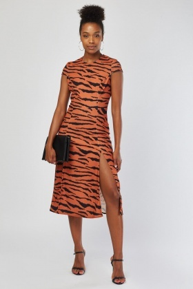 Cap Sleeve Tiger Print Midi Dress