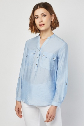 Flap Pocket Front Blouse