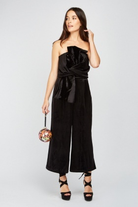 Knotted Strapless Velveteen Jumpsuit