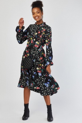 Long Sleeve Botanical Print Midi Dress