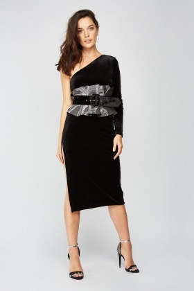 Lurex Trim Velveteen Dress
