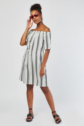Off Shoulder Mini Stripe Dress