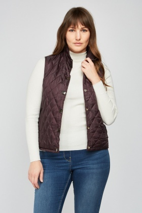Reversible Dark Purple Quilted Gilet