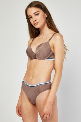 Stripe Underwired Bra And Brief Set