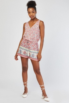 Tie Up Printed Playsuit
