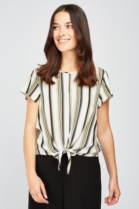 Tie Up Striped Blouse