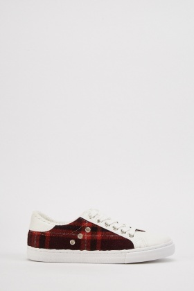 Checked Woven Contrast Trainers