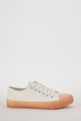 Contrast Textured Low Top Trainers