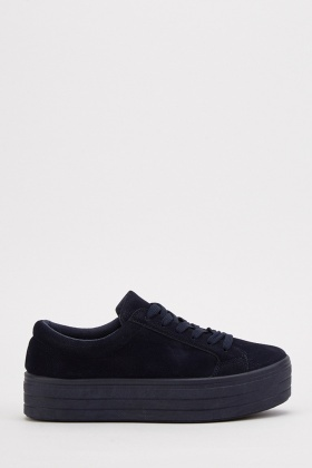 Lace Up Platform Low Top Trainers