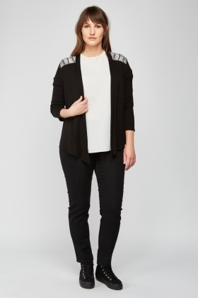 Embroidered Zebra Pattern Cardigan