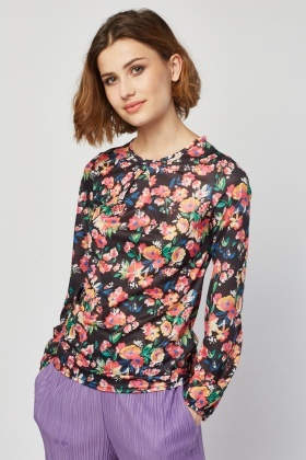 Flower Printed Chiffon Blouse