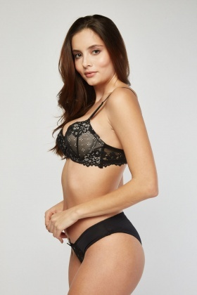 Lace Balcony Bra And Brief Set