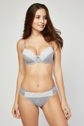 Lace Padded Bra and Brief Set