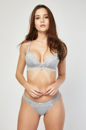 Lace Speckled Bra And Thong Set