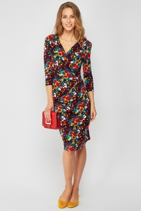 71c0de0cf07 Printed Midi Draped Dress