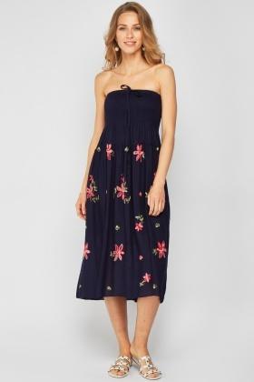 b8454eea37b Shirred Embroidered Midi Dress