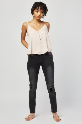 Distressed Charcoal Skinny Jeans