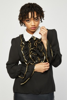 Gathered Metallic Ruffle Blouse