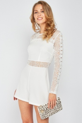 Lace Crochet Insert Playsuit