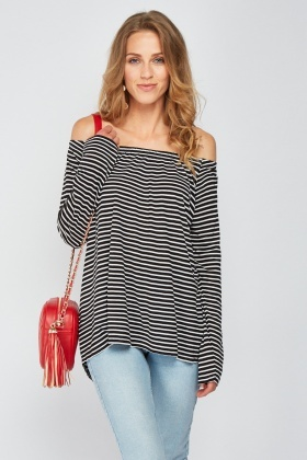 Slouchy Off Shoulder Stripe Top