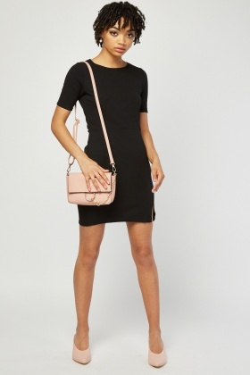 Textured Slit Front Mini Dress