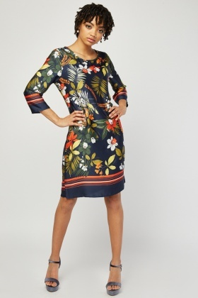 fd86a5828cf Tropical Sateen Shift Dress