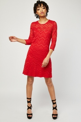 Zig-Zag Lace Pattern Dress