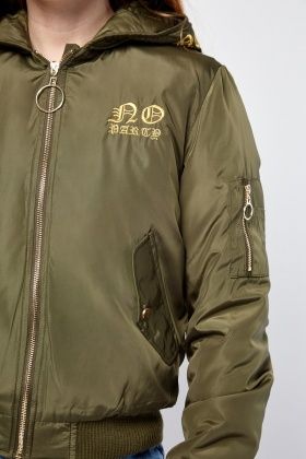 Metallic Embroidered Hooded Puffa Jacket