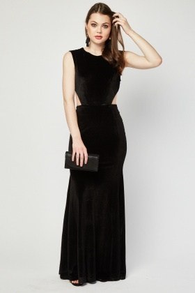 Tie Up Open Back Velveteen Dress