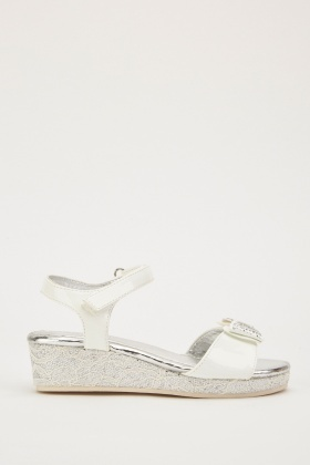Encrusted Bow Sandals