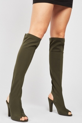 Knee High Scuba Peep Toe Boots