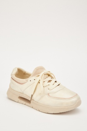 Lace Up  Lurex Trim Trainers