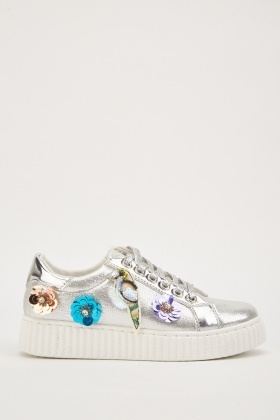 Metallic Detailed Trim Low Top Trainers