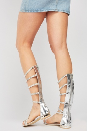 Metallic Encrusted Flat Sandals